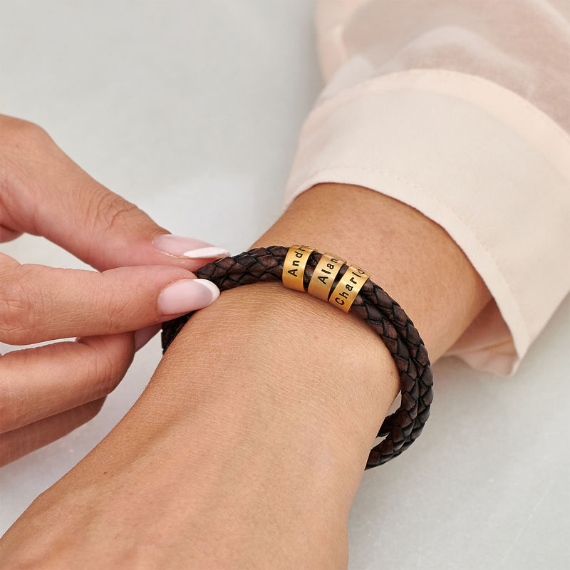 Women Braided Brown Leather Bracelet with Small Custom Beads in 18ct Gold Vermeil - 3