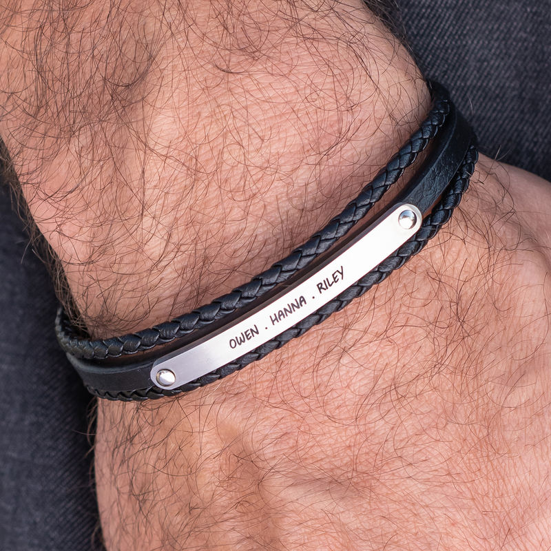 Stacked Black Leather Bracelets with an Engraved Bar - 3