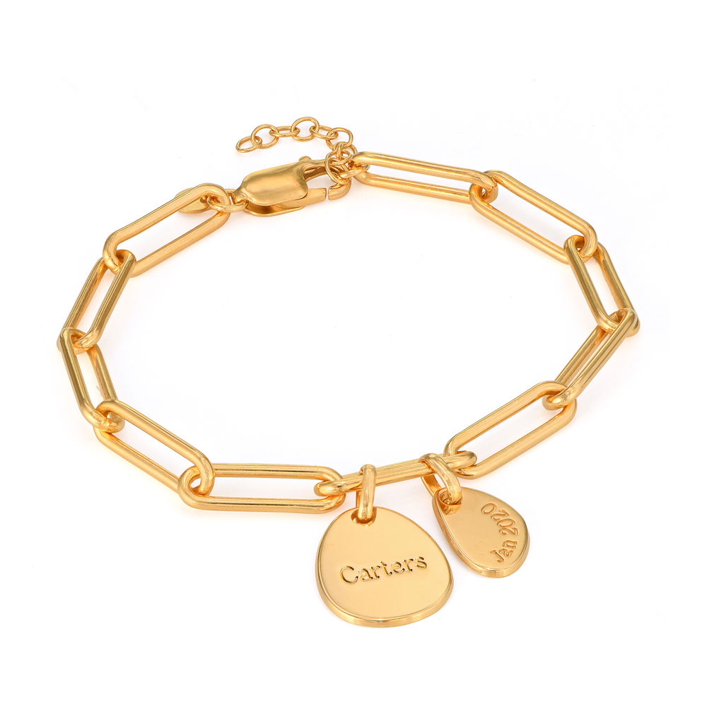 Personalised Chain Link Bracelet  with Engraved Charms in 18ct Gold Plating - 1