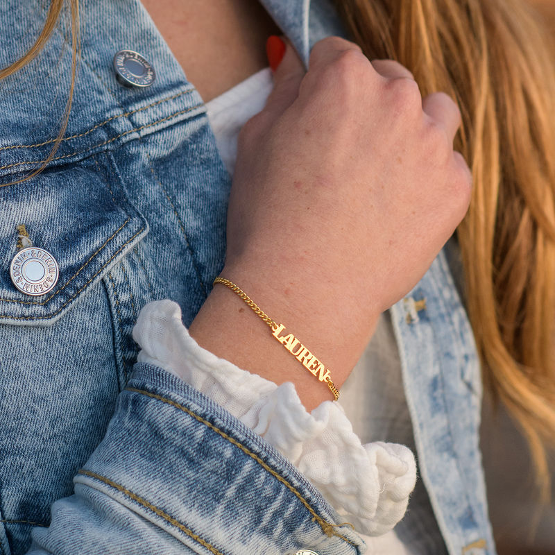 Name Bracelet with Capital Letters in 18ct Gold Vermeil - 1