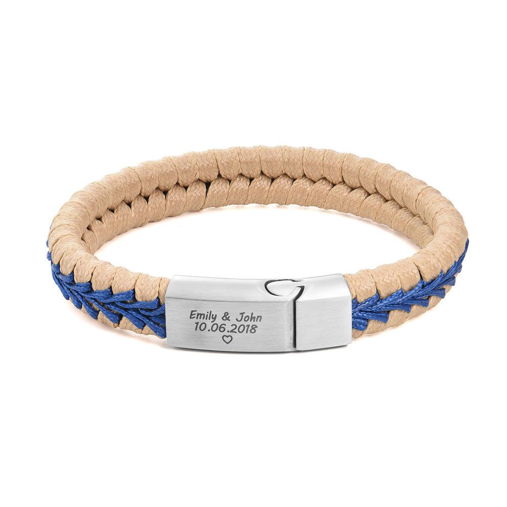 Men Flat Beige Leather Braided Bracelet