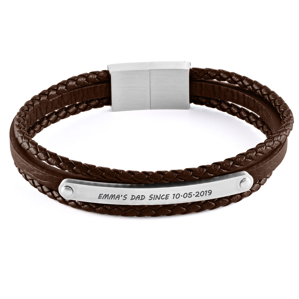 Stacked Brown Leather Bracelets with an Engraved Bar - 1