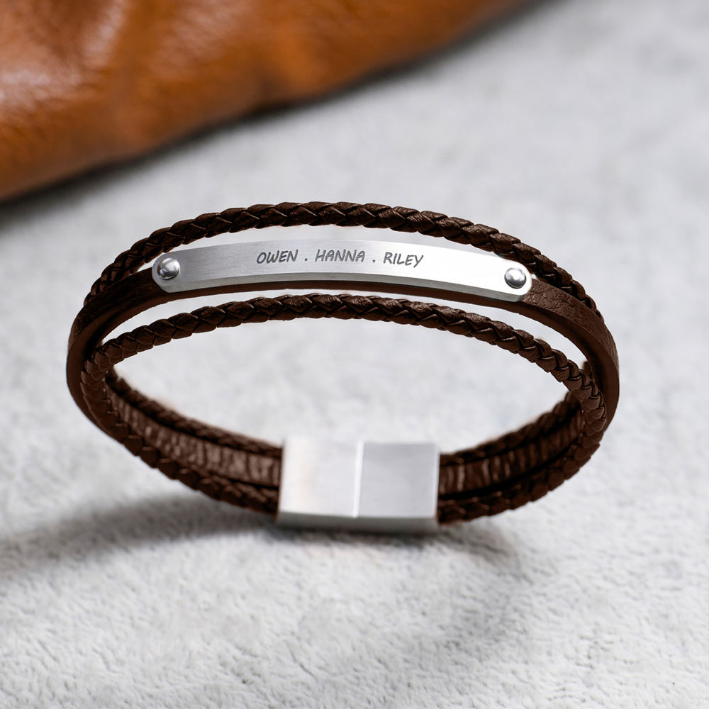 Stacked Brown Leather Bracelets with an Engraved Bar - 5