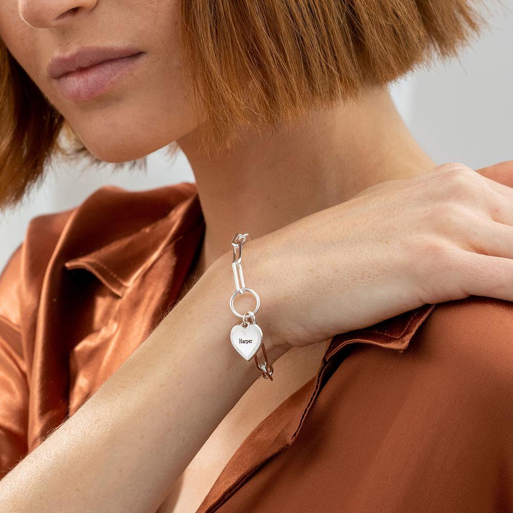 Heart Pendant Link Bracelet in Sterling Silver - 2