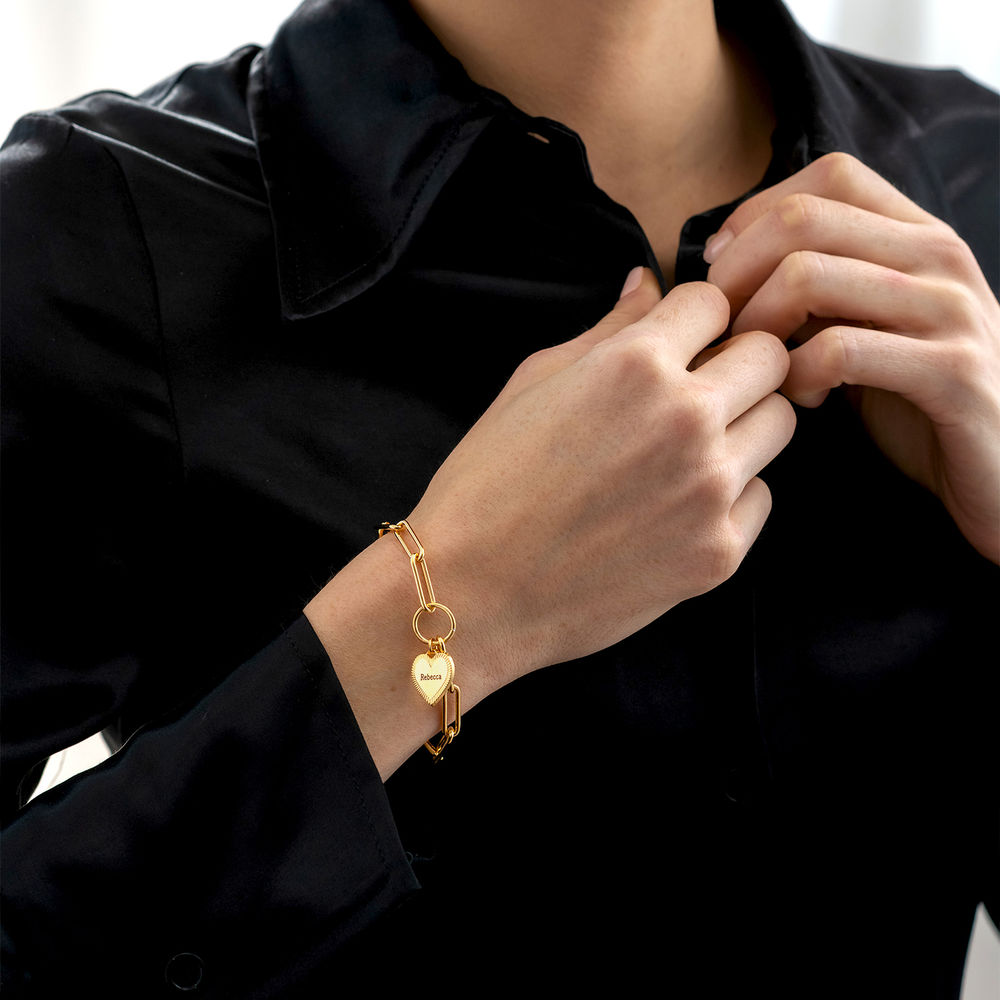 Heart Pendant Link Bracelet in Gold Plating - 2