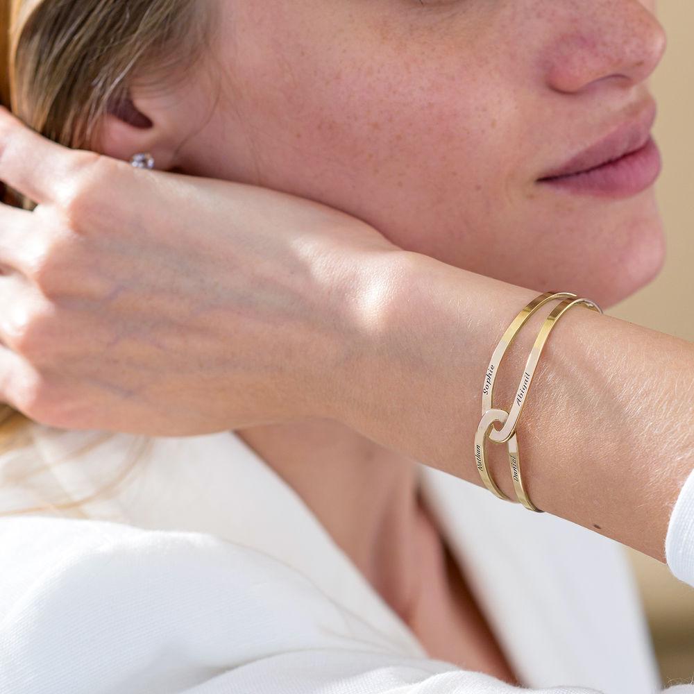 Hand in Hand - Custom Bracelet Cuff in Gold Vermeil - 4
