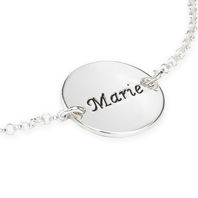 Engraved Bracelet / Anklet with Personalised Disc - 1