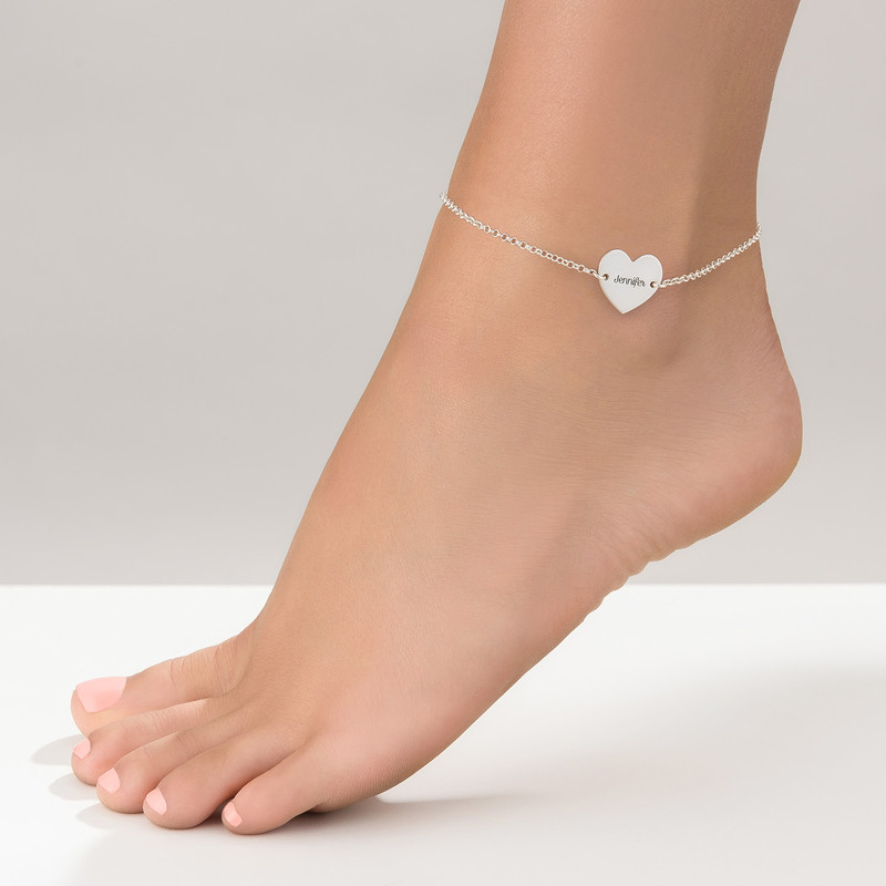 Heart Anklet in Silver - 1