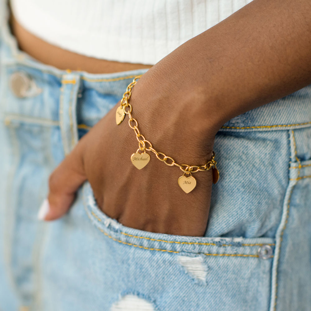 Gold Plated Grandma Bracelet with Engraved Charms - 2