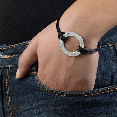 Engraved Silver Infinity Circle Cord Bracelet - 2
