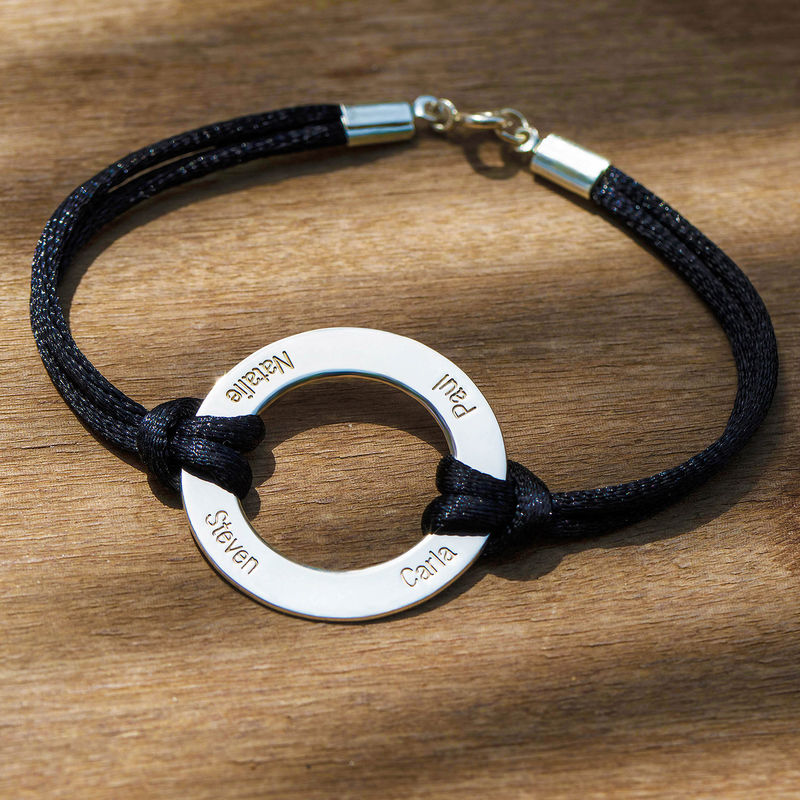 Engraved Silver Infinity Circle Cord Bracelet - 4