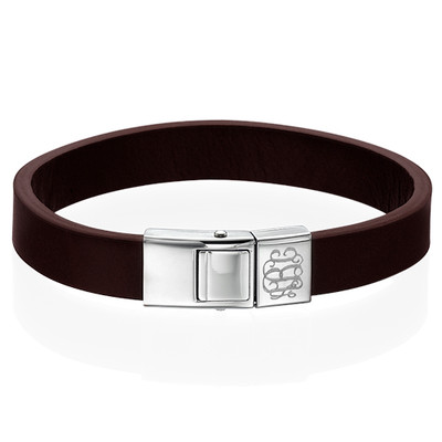 Men's Brown Leather Monogram Bracelet