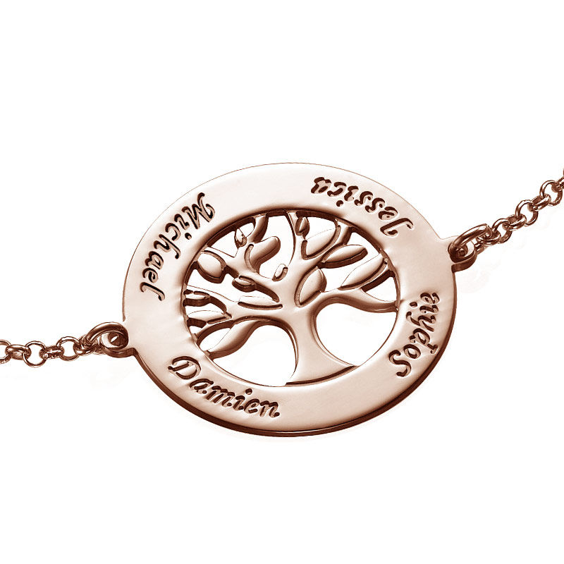 Family Tree Bracelet with Engraving - Rose Gold Plated - 1