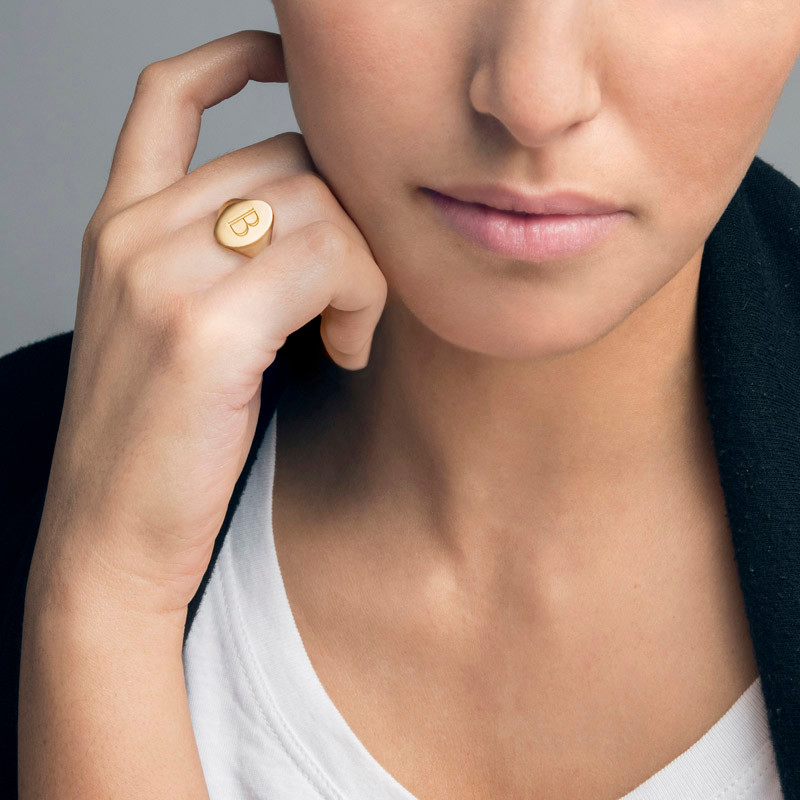 Initial Signet Ring - 18ct Gold Plated - 2