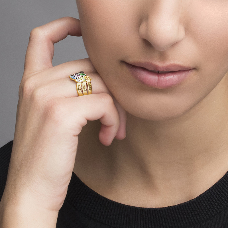 Six Stone Mothers Ring with Gold Plating - 2