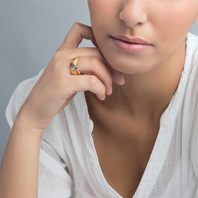 Four Stone Mothers Ring in Gold Plating - 2