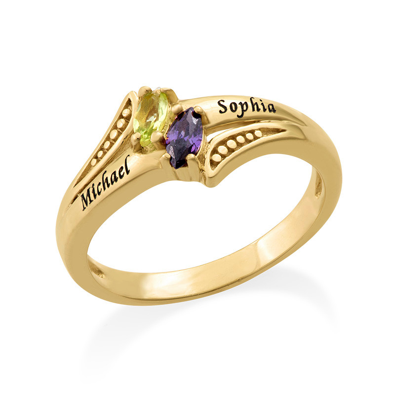 Personalised Birthstone Ring in Gold Plating