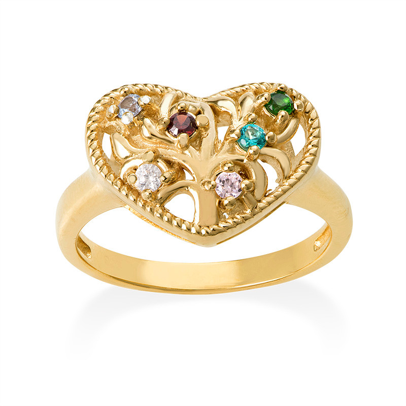 Heart Shaped Birthstone Ring with Gold Plating - 1