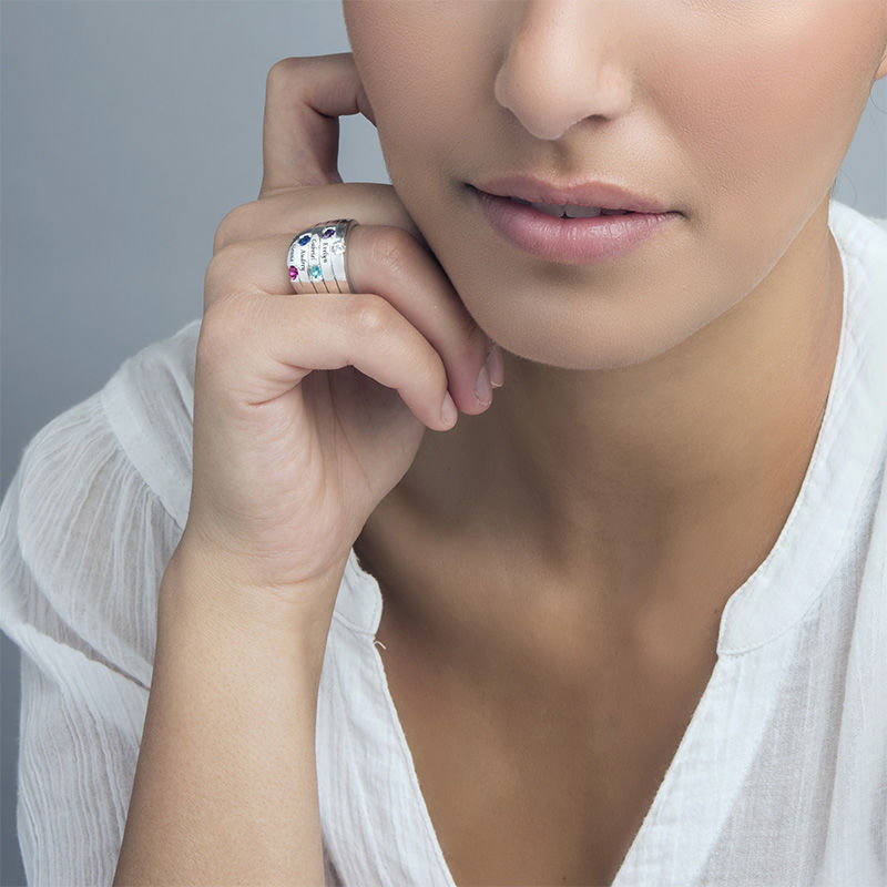 Five Stone Mothers Ring in Silver - Large Size - 1