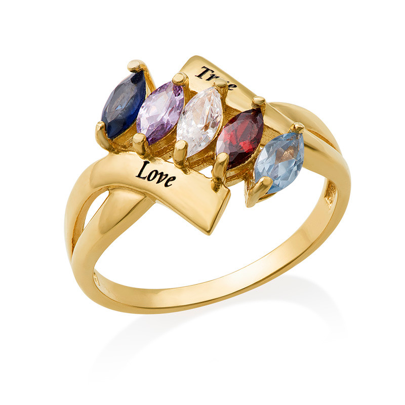 Birthstone Ring for Mum with Gold Plating