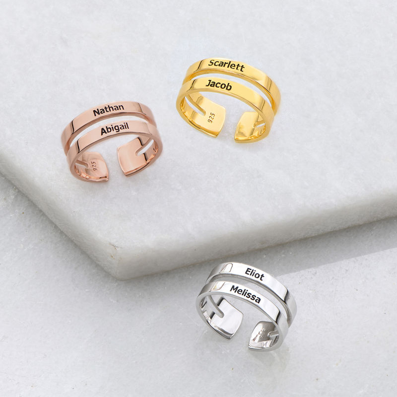 Two Name Ring with Gold Plating - 2