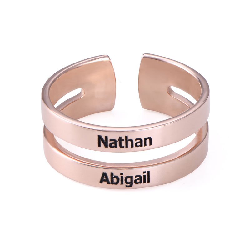 Two names ring in Rose Gold Plating - 1