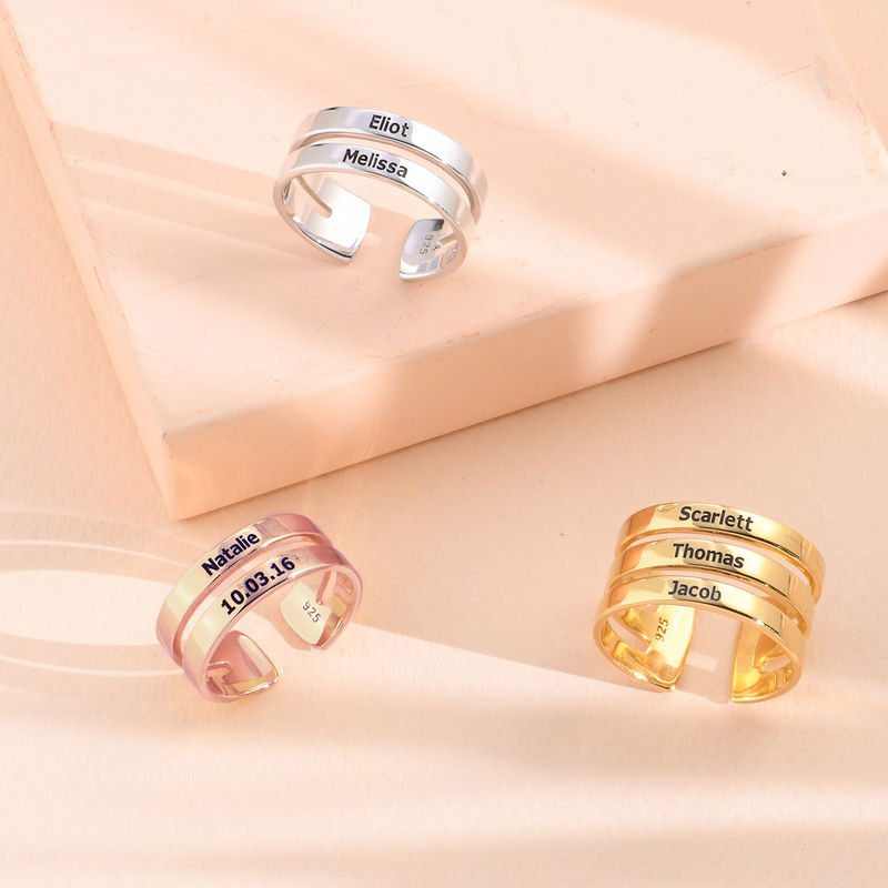 Three Name Ring in Gold Vermeil - 2