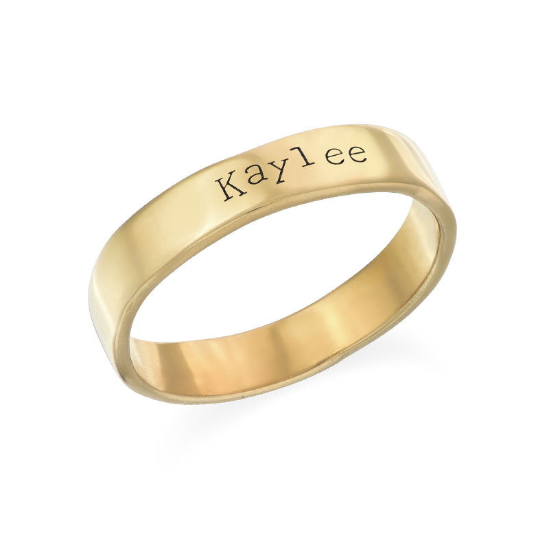Engraved Name Ring - Hand Stamped Style with Gold Plating