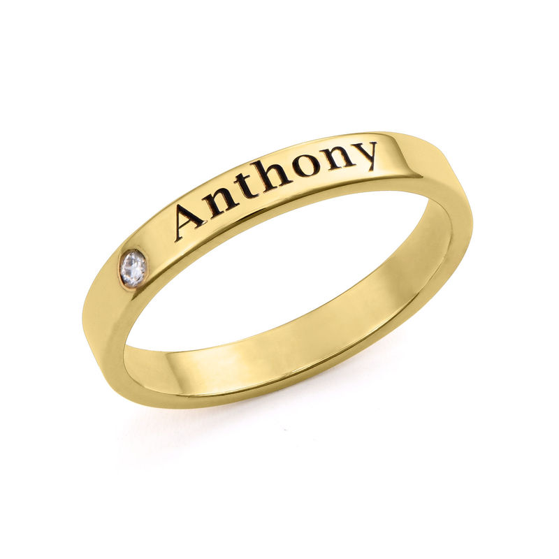 Stackable Name Ring in Gold Plating with Diamond