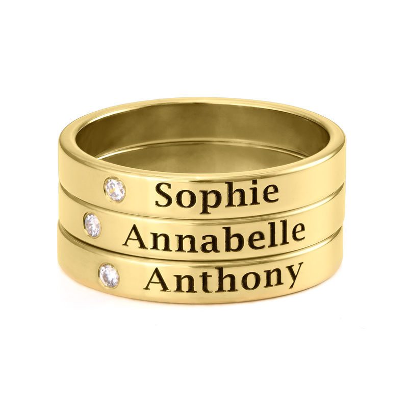 Stackable Name Ring in Gold Plating with Diamond - 2