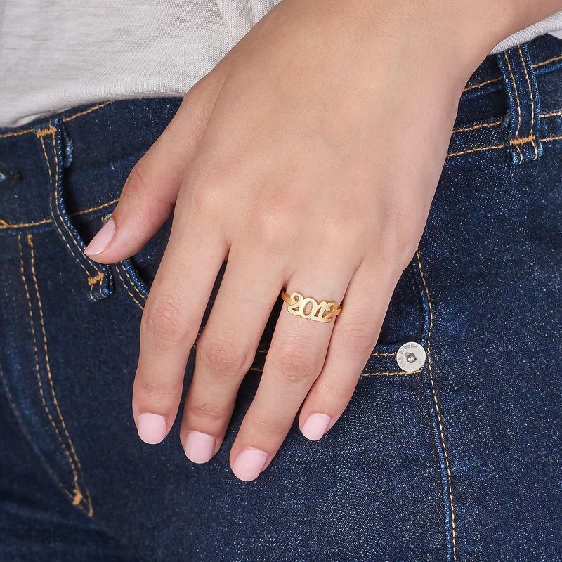 Personalised Number Ring with 18ct Gold Plating - 3