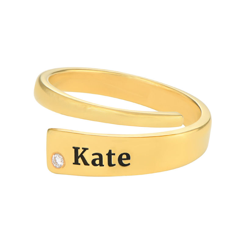 Custom Wrap Name Ring with Diamond in Gold Plating - 1