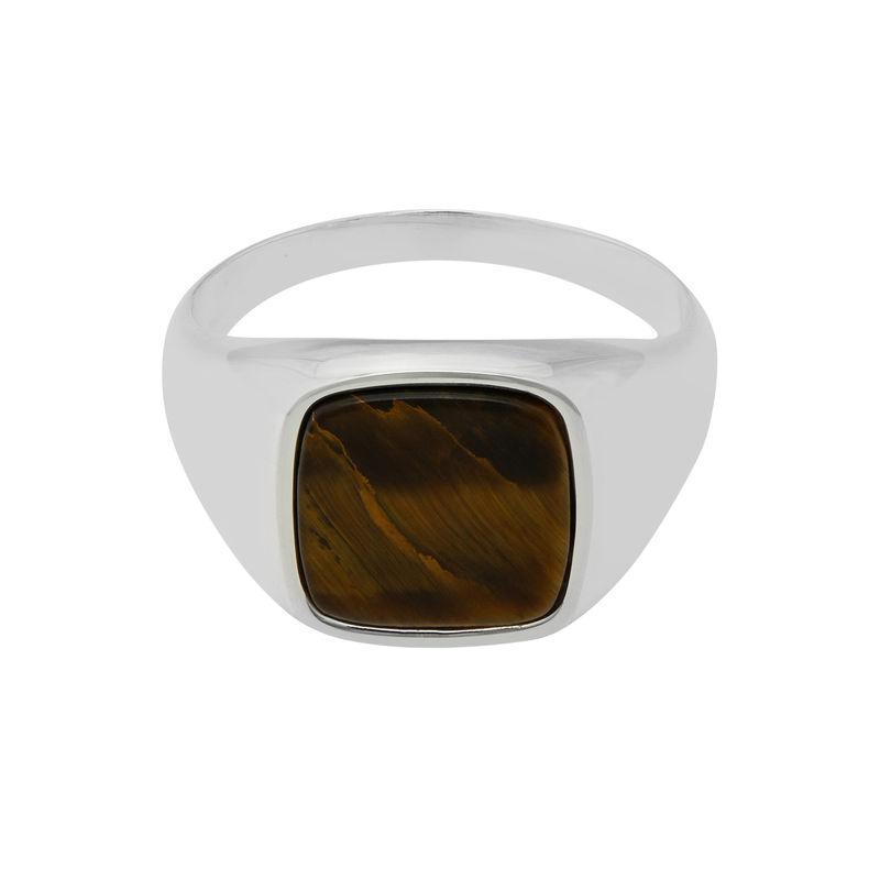 Custom Tiger Eye Signet Ring in Sterling Silver for Men - 1
