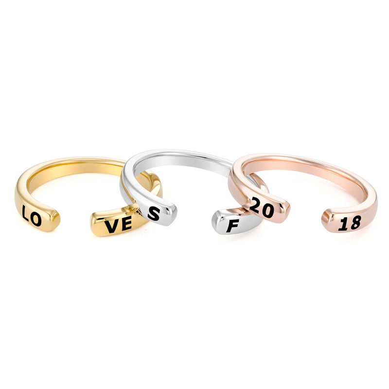 Custom Stacking Open Ring in Gold Plating - 5