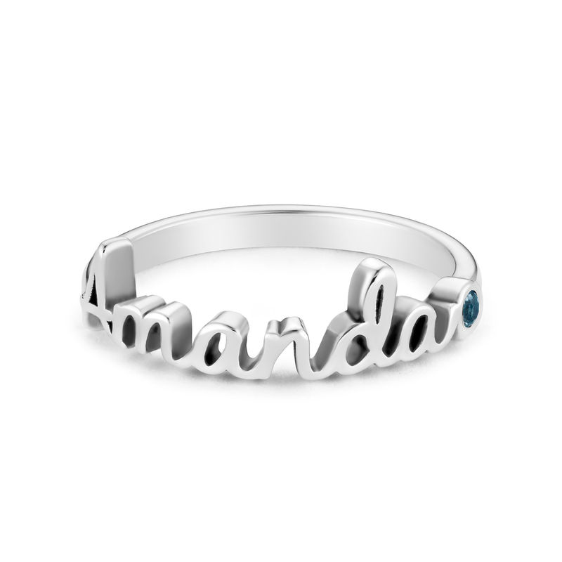 Personalised Birthstone Name Ring in Sterling Silver - 1