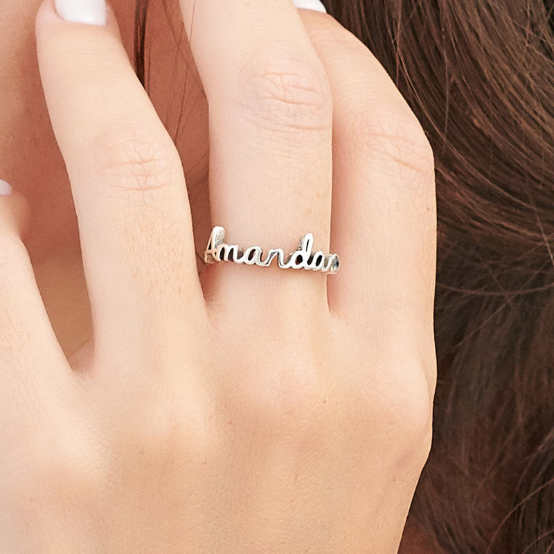 Personalised Birthstone Name Ring in Sterling Silver - 3