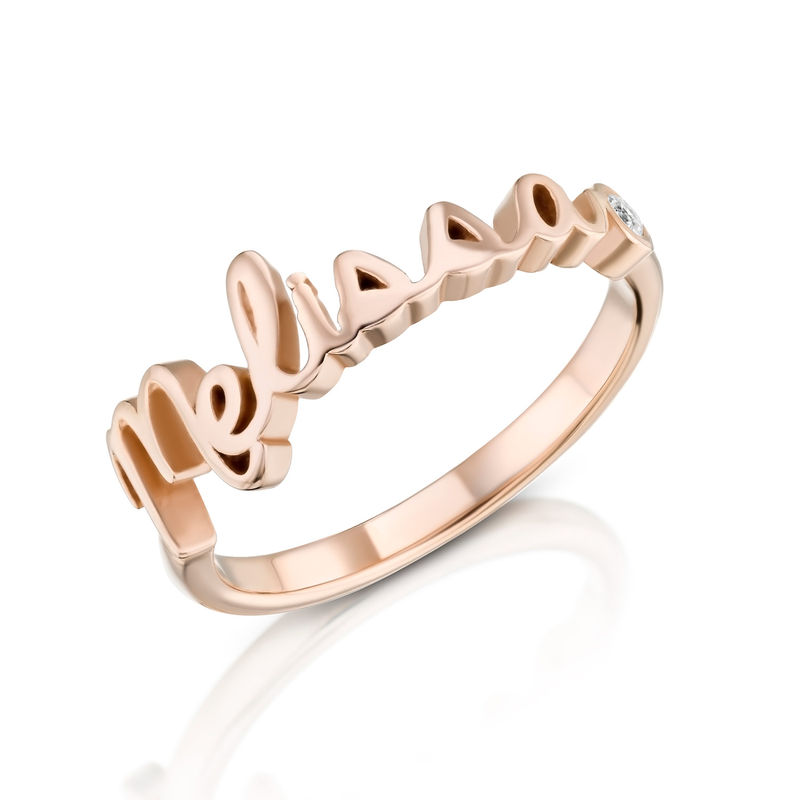 Personalised Birthstone Name Ring in Rose Gold Plating