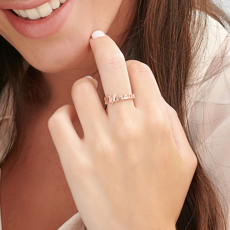 Personalised Birthstone Name Ring in Rose Gold Plating - 3