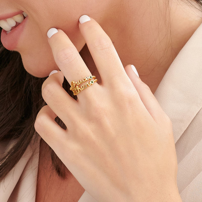Personalised Birthstone Name Ring with Rope Band in Gold Plating - 3