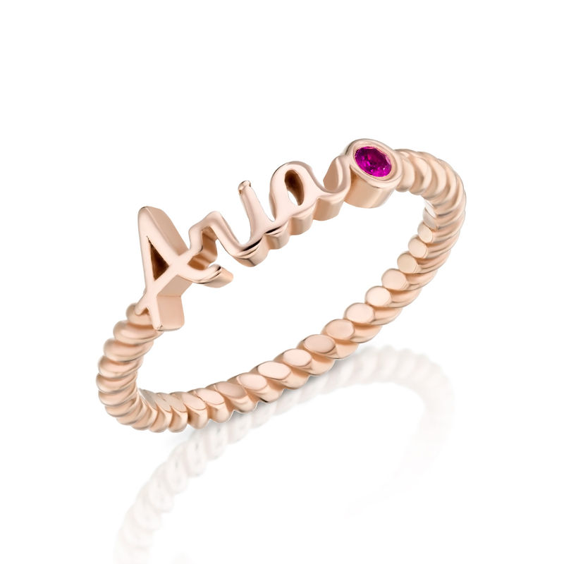 Personalised Birthstone Name Ring with Rope Band in Rose Gold Plating