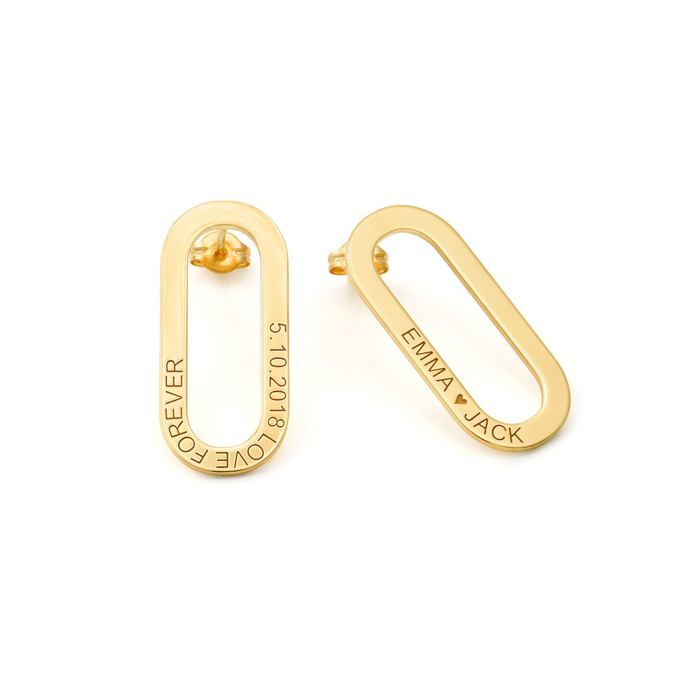 Engraved Single Link Chain Earrings with Engraving in Gold Plating