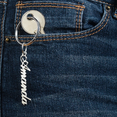 Personalised Name Keyring in Sterling Silver - 1