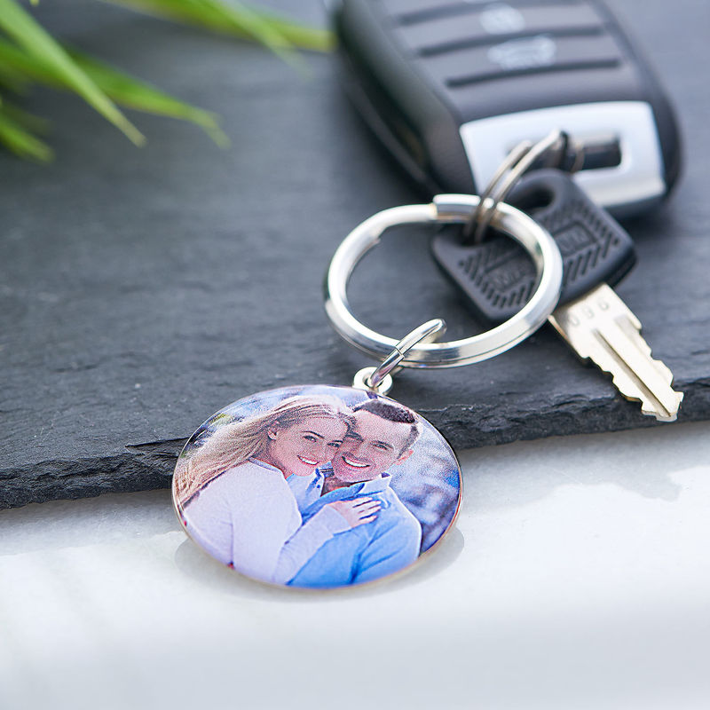Engraved Round Photo Keyring in Sterling Silver - 4