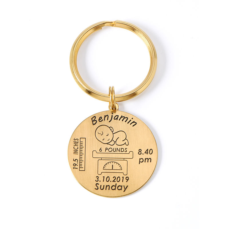 Personalised Engraved Baby Birth Keyring in 18ct Gold Plating