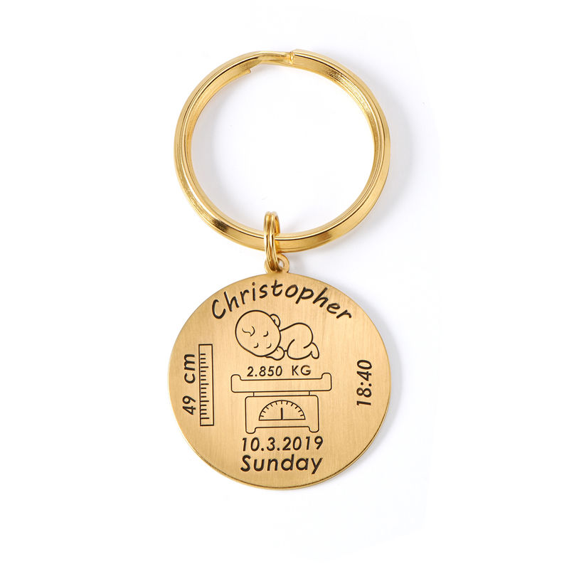 Personalised Engraved Baby Birth Keyring in 18ct Gold Plating - 1