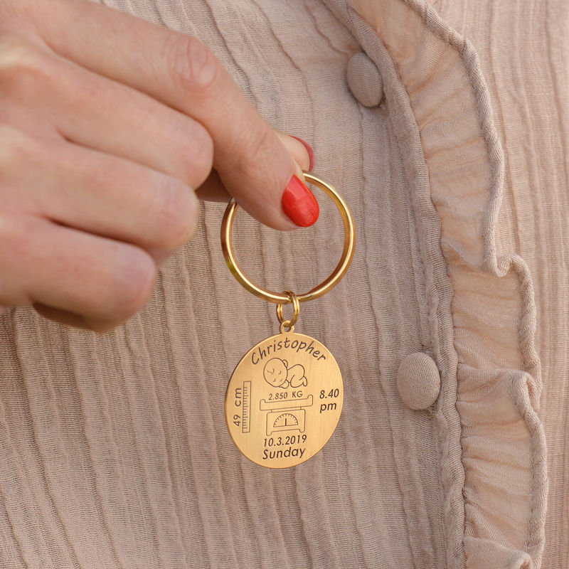 Personalised Engraved Baby Birth Keyring in 18ct Gold Plating - 3