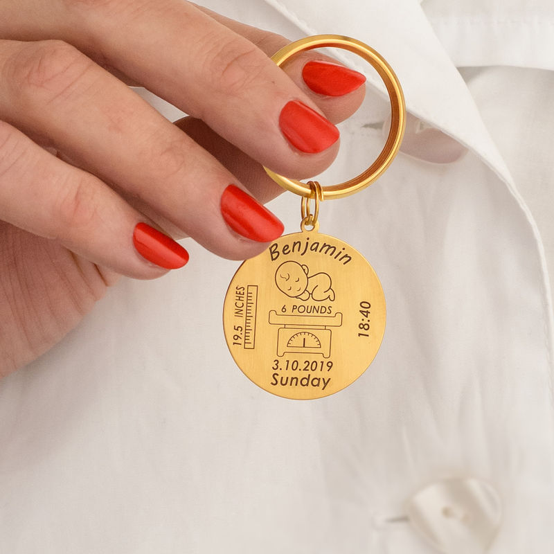 Personalised Engraved Baby Birth Keyring in 18ct Gold Plating - 4