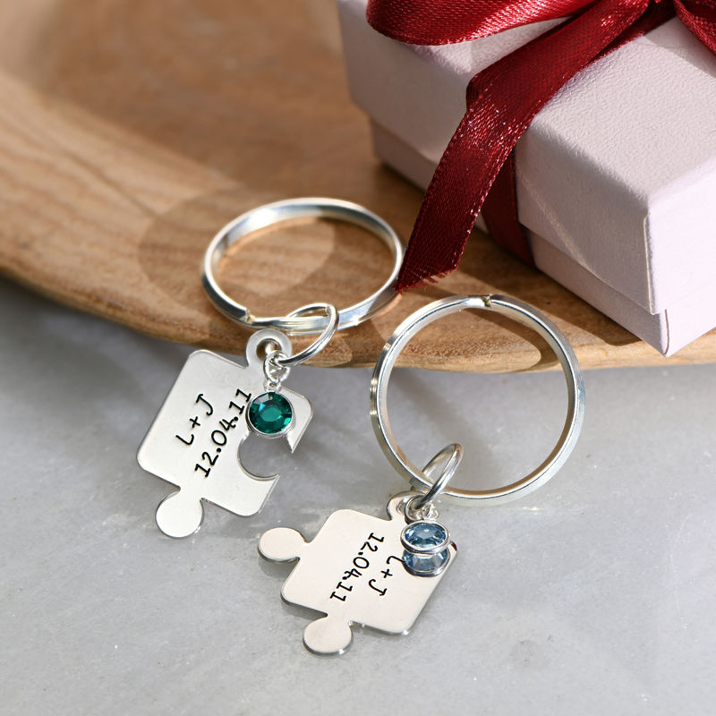 Couple's Puzzle Keyring Set with Crystal - 6
