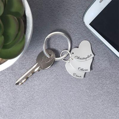 Engraved Heart Charm Keyring - 1