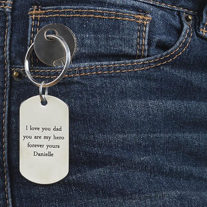 Engraved Dog Tag Keyring for Men - 3